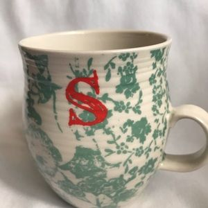 Coffee or Tea Mug Initial S Ceramic